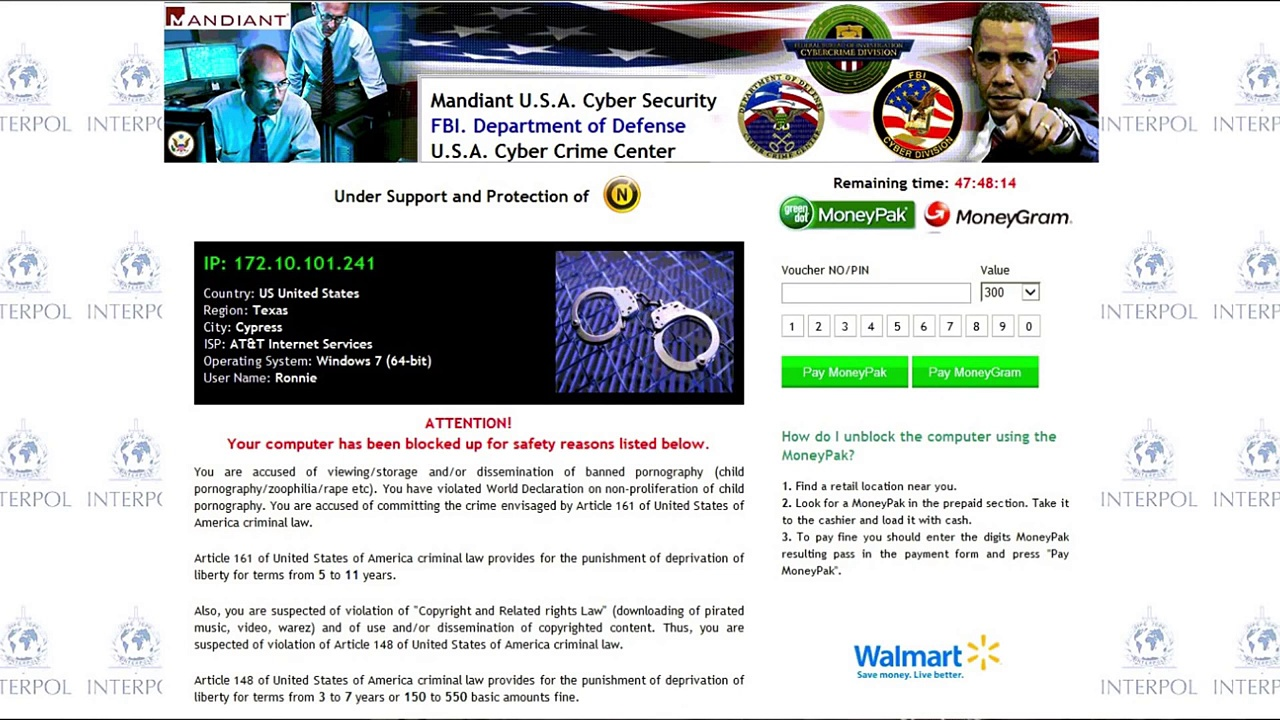 Remove FBI & CyberSecurity Virus: Free Malware Elimination