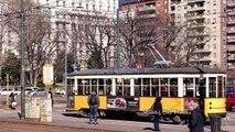 UHD Ultra HD 4K Video Stock Footage Milan Old Trams Vintage Tramways Italy Landmark City Sightseeing