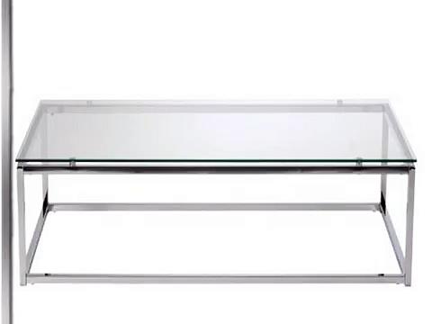 Check Euro Style Sandor Coffee Table, Clear Glass/Chrome Slide