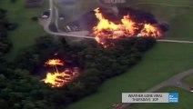 Tornade de feu créພ lors de l incendie d une usine de Whisky frappé par la foudre.
