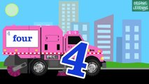 Pink Street Sweeper Trucks Count Numbers 1 to 10   Number Counting for Kids | song for children