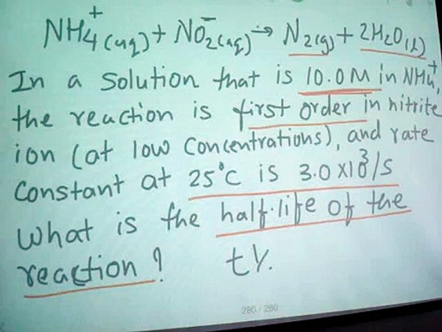 half life reaction example