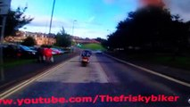 STUPIDEST CHAV ON ROAD - UNDERCUT SUPER BIKE DRIVER ON MOPED THEN NEARLY CRASHES AFTER CRASHING