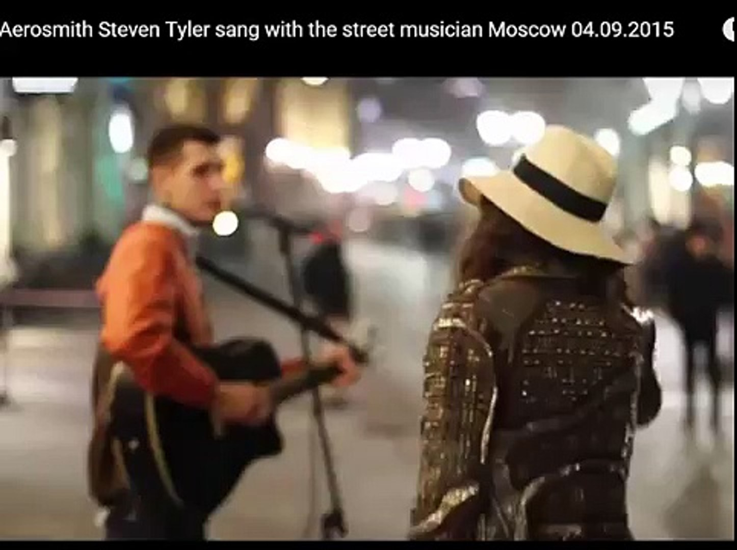 aerosmith steve tyler sing with a street musician in moskow
