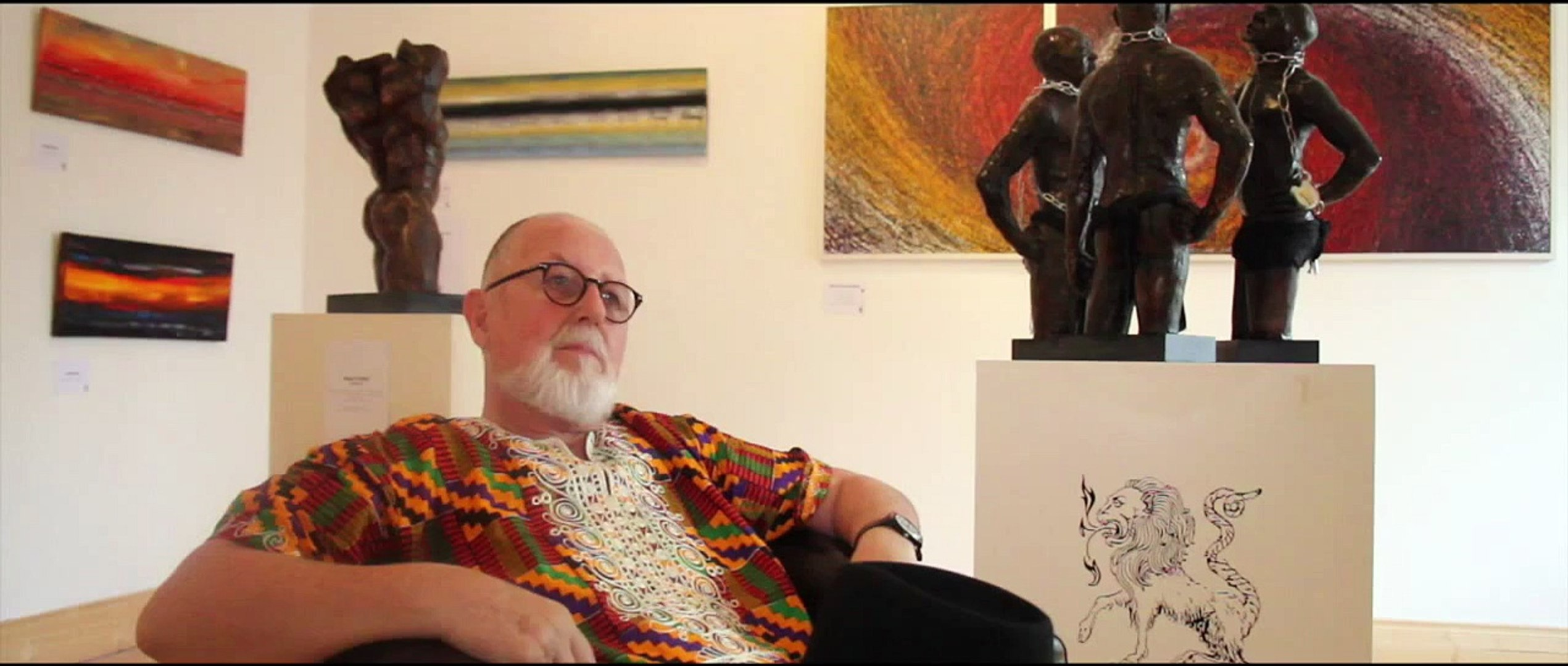 Dave OShea interviewing Gerry days after the Image & Likeness Exhibition by Gerry Waldron