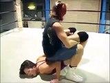 Women  Wrestling Sitting Boston Crab into Single Leg Crab Asian Ladies Pro Wrestling Lad