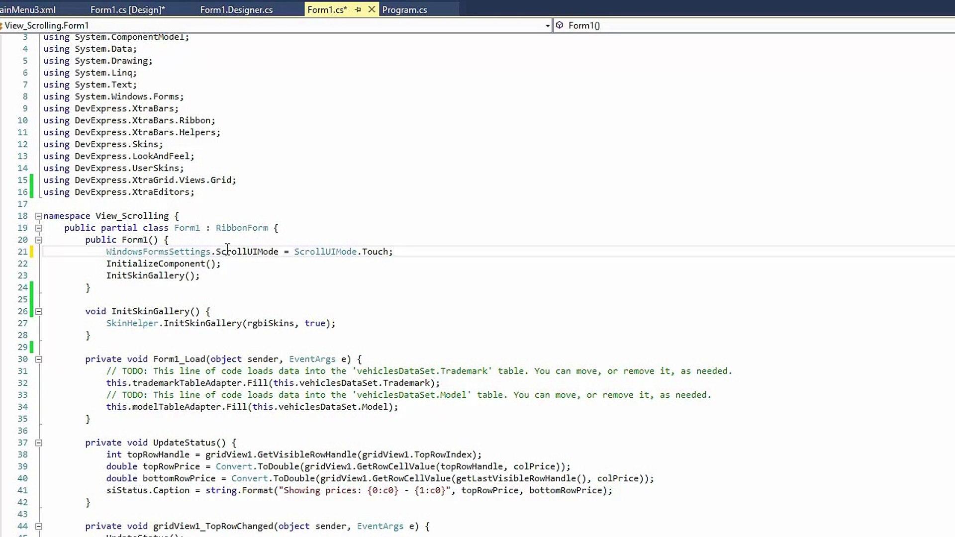 DevExpress WinForms Grid: Row Scrolling