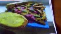 monoprint pizza and garlic bread