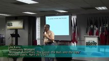 """Lew Kana, """"Monarch Butterflies: The Good, the Bad, and the Ugly"""" Houston Oasis, Apr 26, 2015"""