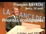 Bayrou priorités écologiques Bercy 18