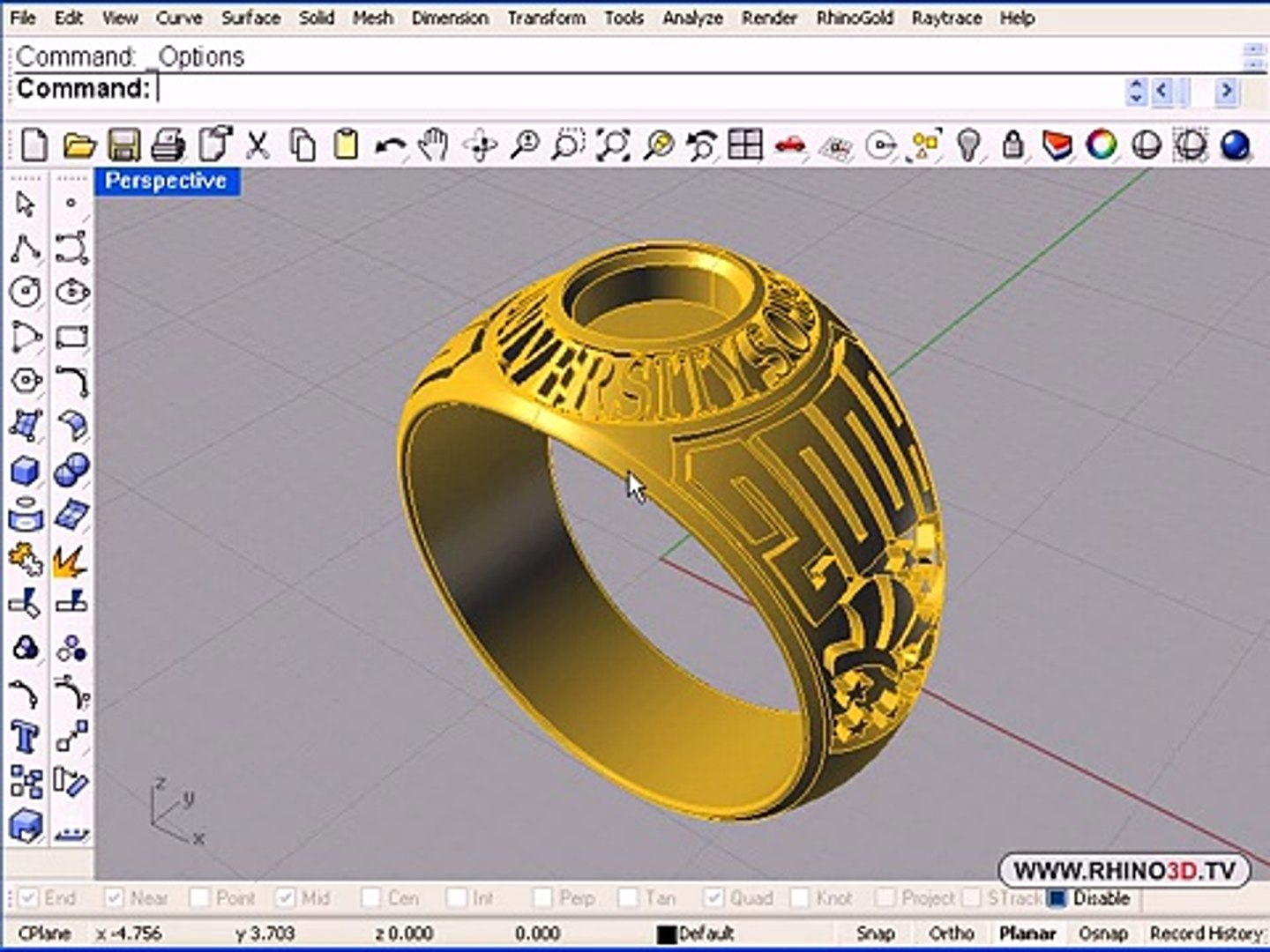 3D Graduation Ring Part 1, Rhino 4 0