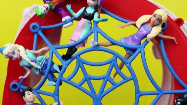 Spiderman Track with Barbie Frozen Elsa Batman Superman DisneyCarToys Imaginext Toys Review