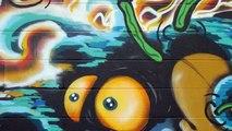 Graffiti Art, Graffiti Bombing in Kaka'ako, Honolulu, Hawaii