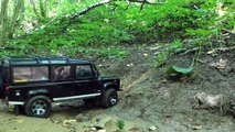 RC 4x4 off-road adventures Land Rover defender 110, defender 130, TLC80, scale trailers