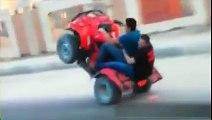 4 wheeler wheelie collided with the truck