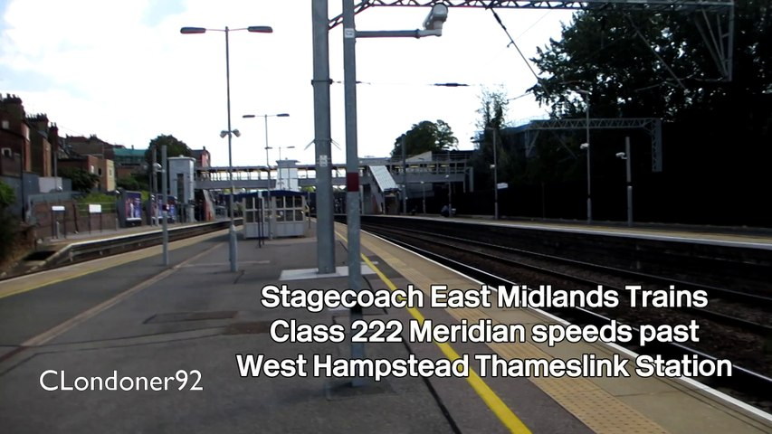 East Midlands Trains Class 222 Meridian speeds past West Hampstead Thameslink Station