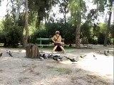 Oma voert duiven
