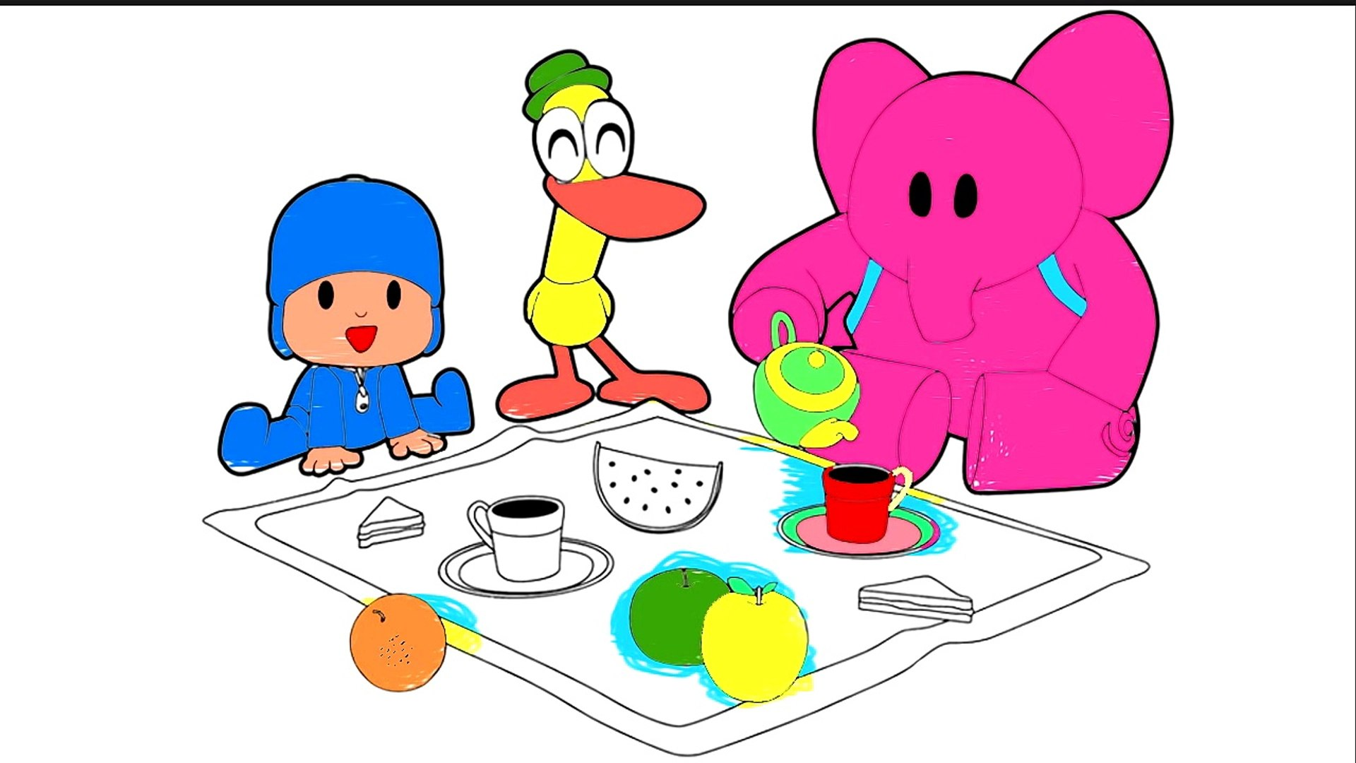 Pocoyo Coloring For Childrens Coloring Picnic Pocoyo Coloring Video Dailymotion