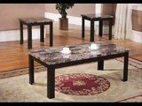 Fine Furniture 3-Piece Coffee Table and End Table Set; Faux Marble Tables