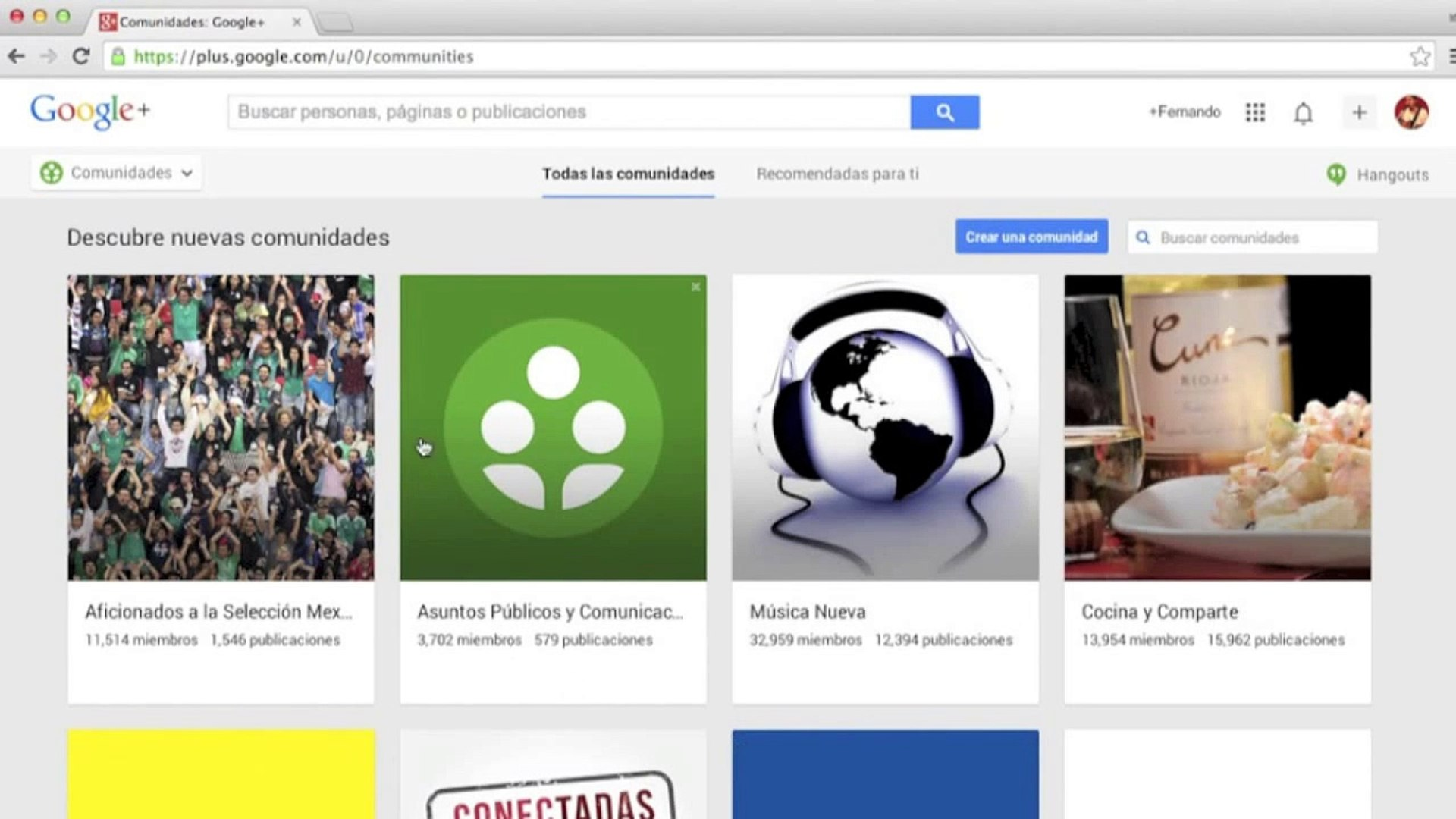 Google+ Cuenta y comunidades - Google Drive