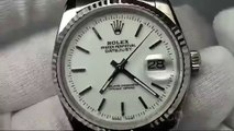 Swiss replica watches replica Rolex DateJust Men SS Plain White Dial Stick Markers on Bracelet sku48