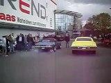 1967 Pontiac Firebird and 1968 Chevy Impala doing burn outs