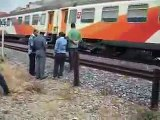 TRAIN CRASH ACCIDENT terrible accident Backarat train runs over a young man