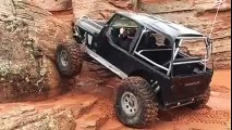 Jeep climbs almost 90 degrees Rock Wall straight up