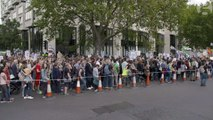 Iman Amrani attends the refugee rally in central London – video