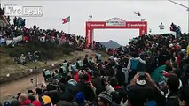 Massive rally car jump in Portugal rally.