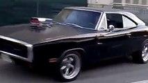 Black 1970 Dodge Charger Burnout
