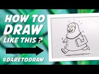 Cara Menggambar Anak Pulang Mengaji