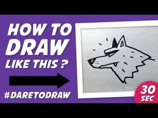 How to Draw Wolf's Head in 30 Sec - Cara Menggambar Kepala Serigala