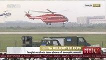 China's Fenglei aerobatic team performs stunts in Tianjin heli...
