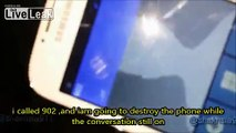 Crazy Saudi Man Destroying and barbecuing  his Samsung Galaxy S4 phone +SUBTITLES