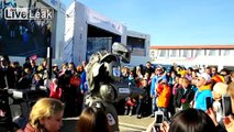 Robot entertains children in Sochi. Russia.