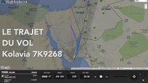 Le trajet du vol Kolavia 7K9268 entre Charm el-Cheikh en Egypte et Saint Petersbourg en Russie