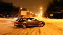 Audi a6 3 0 tdi quattro at work with esp+asr on snow hill ice on
