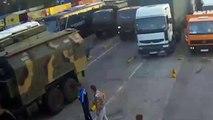 A column of Russian military equipment in Occupied Crimea, Ukraine