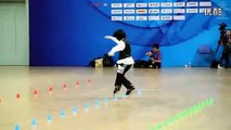 """Highly skilled Chinese kid does """"beat it"""" on roller skates."""