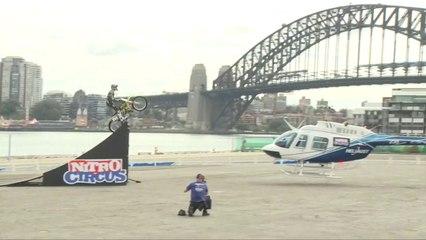 Travis Pastrana Helicopter Jump in Sydney   Nitro Circus