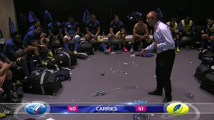 No volume needed for French coach Saint-Andre at half time!