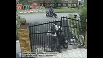 Thief tries to steal motrocycle and runs from owner