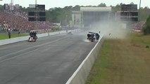 Il frôle la mort dans un accident spectaculaire lors d'une course de dragsters