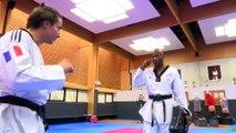 Vincent Parisi Coach l'humoriste Jeremy Ferrari au Taekwondo à L'INSEP.