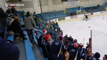 Huge fight after ref hits high school hockey player
