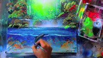 How to paint a spray paint jungle with a dolphin, galaxies and nebulas, space painting, landscapes how to paint a spray