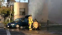 Car Hits Fire Hydrant and Causes Geyser