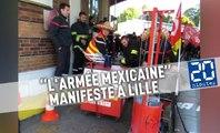 «L'armée mexicaine» des pompiers du Nord manifeste sa colère à Lille