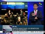 Colombia: destaca Santos en EE.UU. beneficios del acuerdo de paz